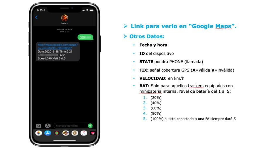 Captura SMS con localización SinoTrack