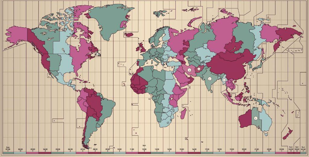 Mapa de los usos horarios del mundo